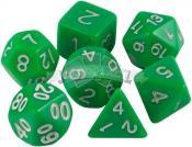 Набор кубиков d4, d6, d8, d10, d12, d20, d100: зелёные (7 шт, 16 мм) ЗНАЕМ ИГРАЕМ