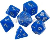 Набор кубиков d4, d6, d8, d10, d12, d20, d100: синие (7 шт, 16 мм) ЗНАЕМ ИГРАЕМ