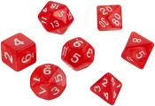 Набор кубиков d4, d6, d8, d10, d12, d20, d100: красные (7 шт, 16 мм) ЗНАЕМ ИГРАЕМ