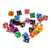5 кубиков STUFF-PRO десятигранных, процентных (D100) в ассортименте