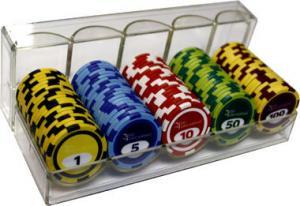 Набор спортивного покера в акриловом лотке с номиналом (100 фишек)