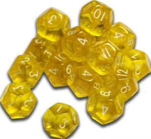 12-гранный кубик 12мм в желтый (d12)