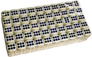 100 6-ти гранных кубиков 15мм (d6) белого цвета