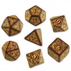 Набор кубиков «Steampunk» (d4, d6, d8, d10, d12, d20, d100) коричнево-желтого цвета