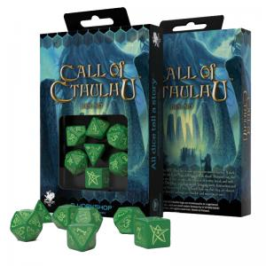 Набор кубиков «Green & Glow-in-the-Dark Call of Cthulhu» (d4, d6, d8, d10, d12, d20, d100)