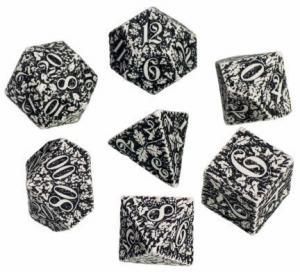 Набор кубиков «FOREST 3D DICE» (d4, d6, d8, d10, d12, d20, d100) бело-черный