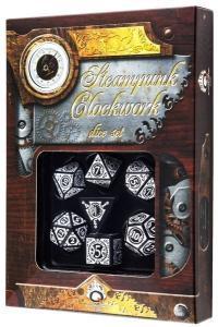 Набор кубиков «Steampunk Clockwork» (d4, d6, d8, d10, d12, d20, d100) черно-белого цвета