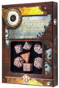 Набор кубиков «Steampunk Clockwork» (d4, d6, d8, d10, d12, d20, d100) карамельно-белого цвета
