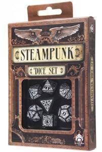 Набор кубиков «Steampunk» (d4, d6, d8, d10, d12, d20, d100) черно-белого цвета