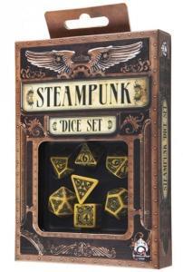 Набор кубиков «Steampunk» (d4, d6, d8, d10, d12, d20, d100) желто-черного цвета
