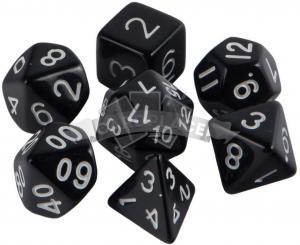 Набор кубиков d4, d6, d8, d10, d12, d20, d100: чёрные (7 шт, 16 мм) ЗНАЕМ ИГРАЕМ