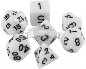 Набор кубиков d4, d6, d8, d10, d12, d20, d100: белые (7 шт, 16 мм) ЗНАЕМ ИГРАЕМ