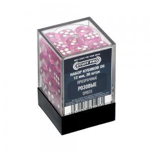 Набор кубиков STUFF PRO D6. Прозрачные Розовые 12мм 36 шт
