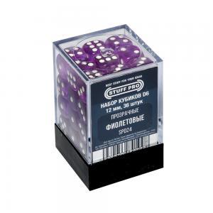 Набор кубиков STUFF PRO D6. Прозрачные Фиолетовые 12мм 36 шт