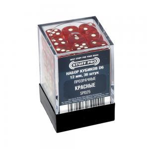 Набор кубиков STUFF PRO D6. Прозрачные Красные 12мм 36 шт