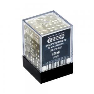 Набор кубиков STUFF PRO D6. Прозрачные Белые 12мм 36 шт