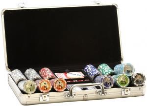 Набор спортивного покера в алюминиевом кейсе с номиналом (300 фишек)