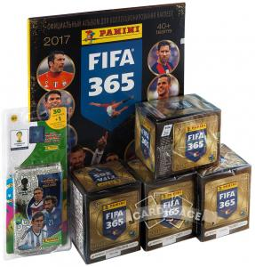 "4 бокса наклеек Panini ""FIFA 365-2017"" + блистер"