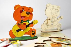 3D-пазл разукрашка Ugears Медвежонок