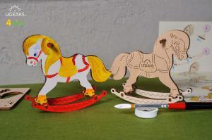 3D-пазл разукрашка Ugears Лошадка-качелька